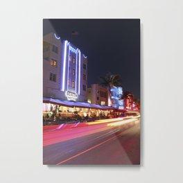 South Beach Miami at Night, Fine Art Photography Metal Print