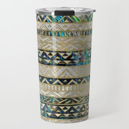 Tribal Ethnic  Pattern Gold on Abalone Shell and Pearl Travel Mug