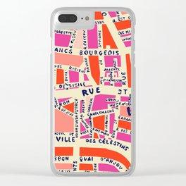 paris map pink Clear iPhone Case