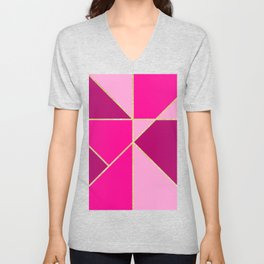 Modern color block pink neon pastel gold stripes Unisex V-Neck