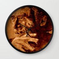 bukowski Wall Clocks featuring Charles Bukowski - quote - sepia by ARTito