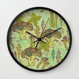 Green vegetables pattern. Wall Clock