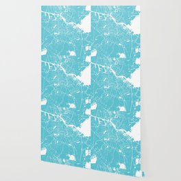 Amsterdam Turquoise on White Street Map Wallpaper