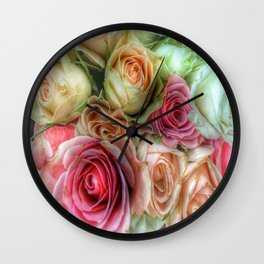 Roses - Pink and Cream Wall Clock