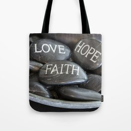 Love Faith Hope Christian Quote Black Pebble Embossing Tote Bag