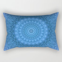 Sunflower Feather Bohemian Cool Blue Pattern \\ Aesthetic Vintage \\ Ice Snow Aqua Color Scheme Rectangular Pillow