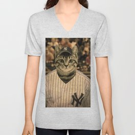 Baseball Cat Unisex V-Neck