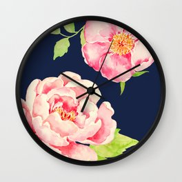 Two Pink Peonies on Navy Wall Clock