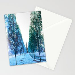 Path to Reality : Turquoise Teal Trees Stationery Cards