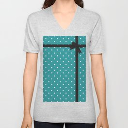 Blue Polka Dot with Bow Unisex V-Neck