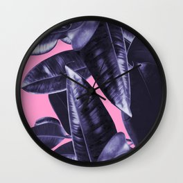 Rubber Plant Pink Wall Clock