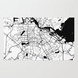 Amsterdam White on Black Street Map Rug