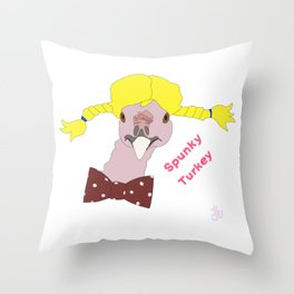 Spunky Turkey Yellow Hair TX Throw Pillow