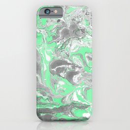 Light green and gray Marble texture acrylic paint art iPhone Case