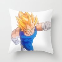 vegeta Throw Pillows featuring Ascended Super Saiyan Vegeta by bmeow
