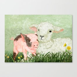 Lamb and Piglet Canvas Print