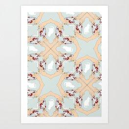 Tea and Cat Pattern Art Print