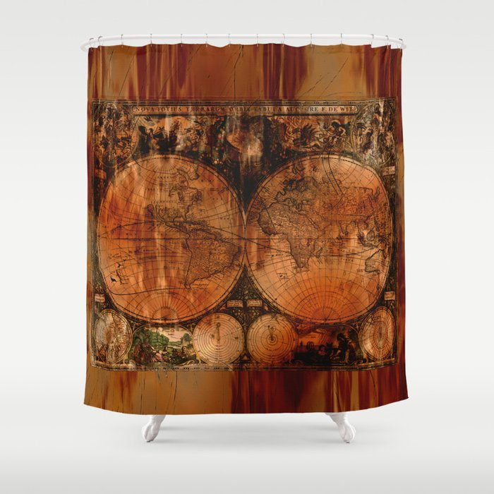 Rustic Old World Map Shower Curtain By Onlinegifts