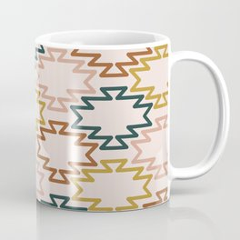 Southwest Azteca - Minimalist Geometric Pattern in Rust, Mustard, Blue, and Blush Coffee Mug
