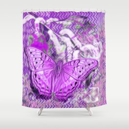Ultra-violet butterfly and abstract background Shower Curtain
