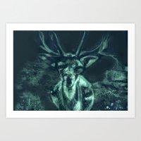 Deer Caught in Headlights Art Print