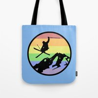 skiing Tote Bags featuring skiing 2 by Paul Simms