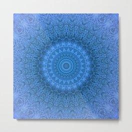 Sunflower Feather Bohemian Cool Blue Pattern \\ Aesthetic Vintage \\ Ice Snow Aqua Color Scheme Metal Print
