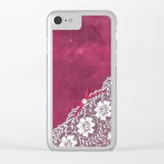 Claire´s treasure - White beautiful lace and pearl on pink grunge backround Clear iPhone Case