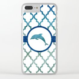 Dolphins: Tropical Water Moroccan Pattern Clear iPhone Case