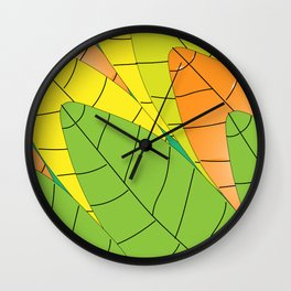 "Autumn leaves (""Leaves"" translated as ""Les feuilles"" in French) Wall Clock"