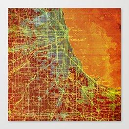 Chicago orange old map Canvas Print