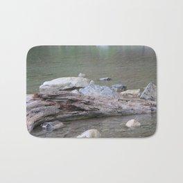 Log in River in Rain Bath Mat