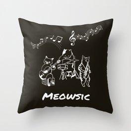 Meowsic Throw Pillow