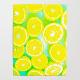 juicy yellow lemon pattern abstract with green background Poster