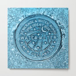 Blue Water Meter New Orleans Sewer Ford Louisiana Metal Print