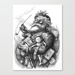 Vintage Illustration Of Santa Claus  Canvas Print
