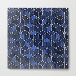 Shades Of Blue & Silver Cubes Pattern Metal Print