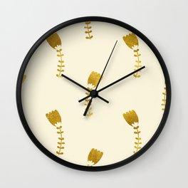 Cream Gold Foil 03 Wall Clock