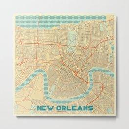 New Orleans Map Retro Metal Print