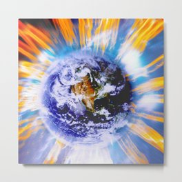 Earth in Sudden Geomagnetic Reversal Metal Print