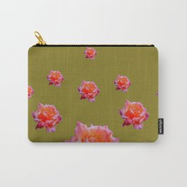 RAINING ANTIQUE PINK ROSE FLOWERS AVOCADO COLOR Carry-All Pouch