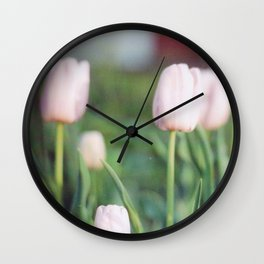 Soft Abstract Pink Tulips in Spring Film Photography Wall Clock