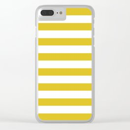 Yellow and white stripes Clear iPhone Case