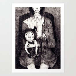 A girl and her Dolls Art Print