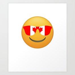 Cool Emoji Canada Flag Sunglasses Funny Canadian T-Shirt Art Print