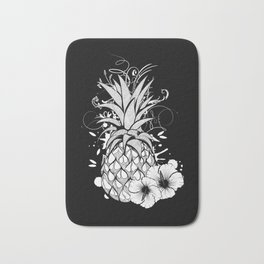 Pineapple with hibiscus blossom Bath Mat