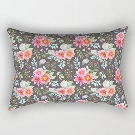 Elegant botanical blush pink teal green watercolor floral Rectangular Pillow