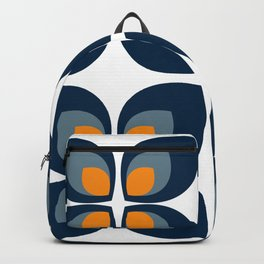 Minimal Art Mid Century Modern Leaf Flower Pattern Blue and Orange Backpack