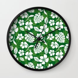 Green and White Aloha Hawaiian Flower Blooms and Tropical Leaves Pattern Wall Clock