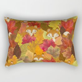 Foxes Hiding in the Fall Leaves - Autumn Fox Rectangular Pillow